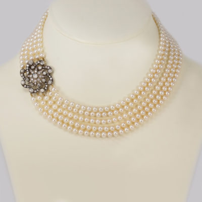 Vintage Pearl Necklace Diamond Edwardian