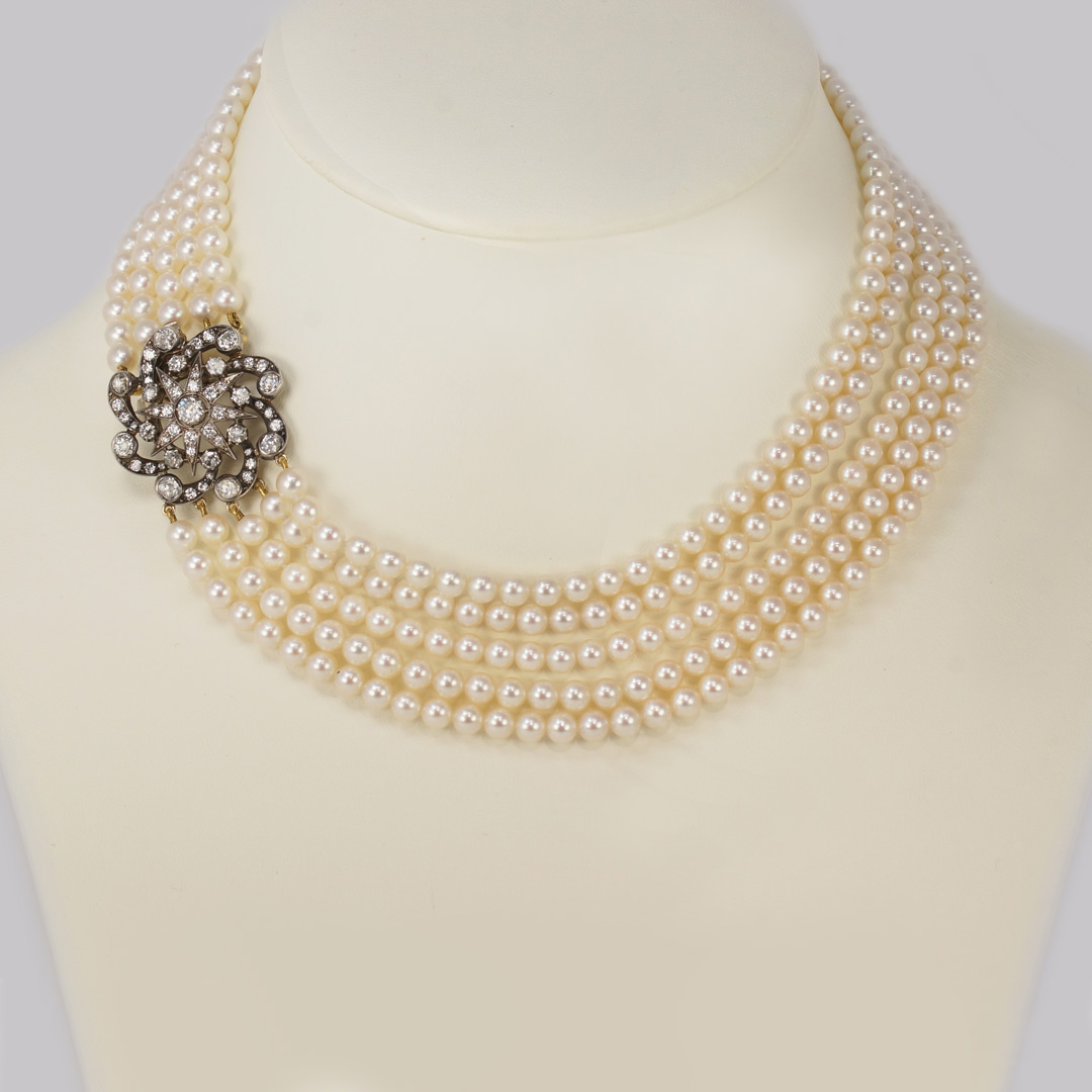 Vintage Pearl Necklace with Diamond Clasp