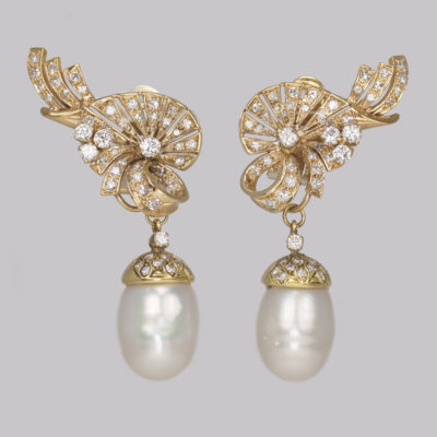 Diamond & Pearl Drop Earrings 1950s