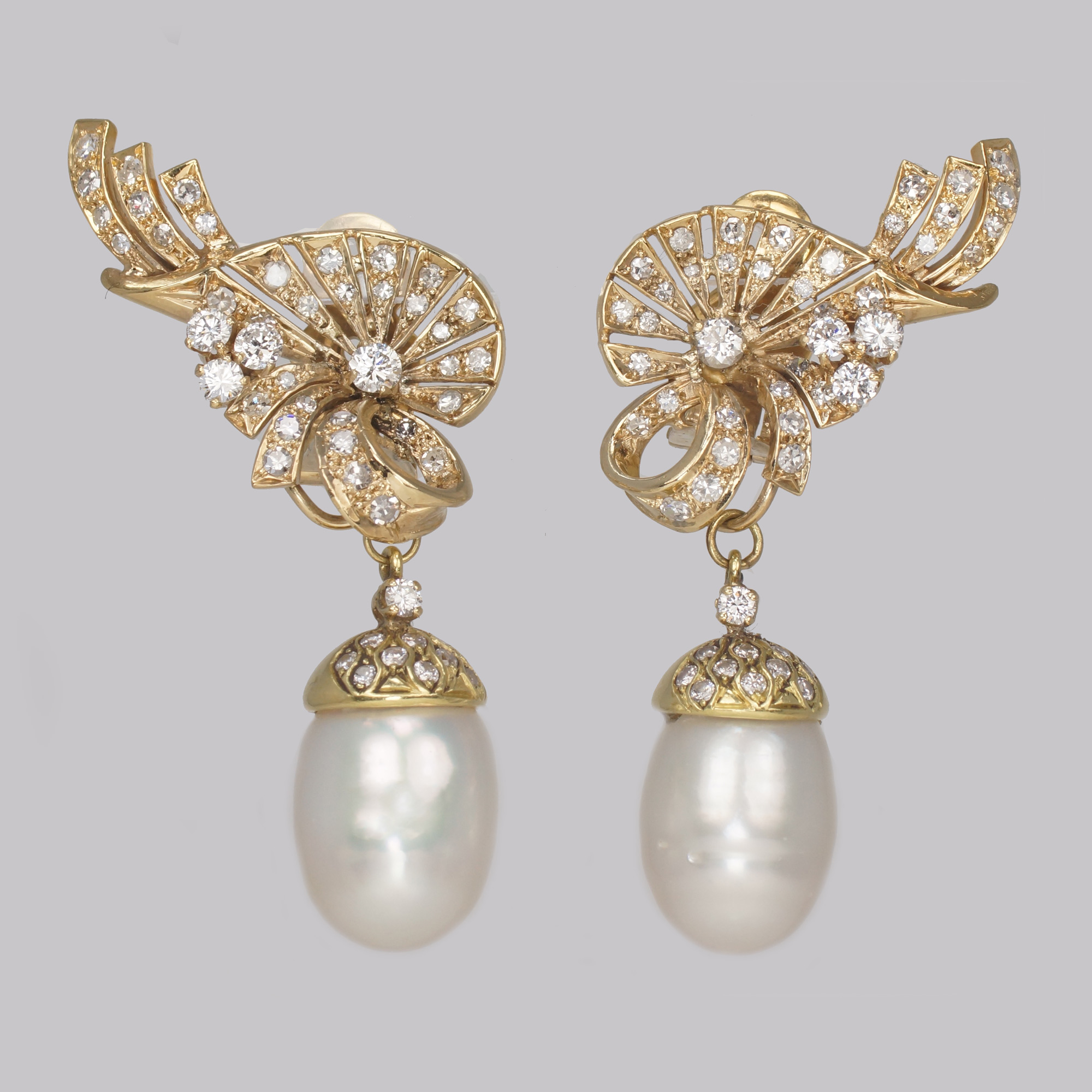 Victorian diamond pendant earrings