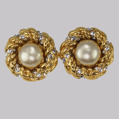 Chanel Pearl & Crystal Earrings