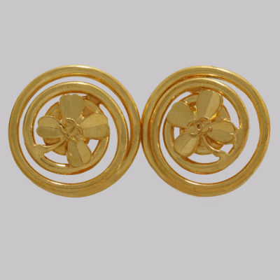 Vintage Chanel Gold Tone Clover Earrings 1993