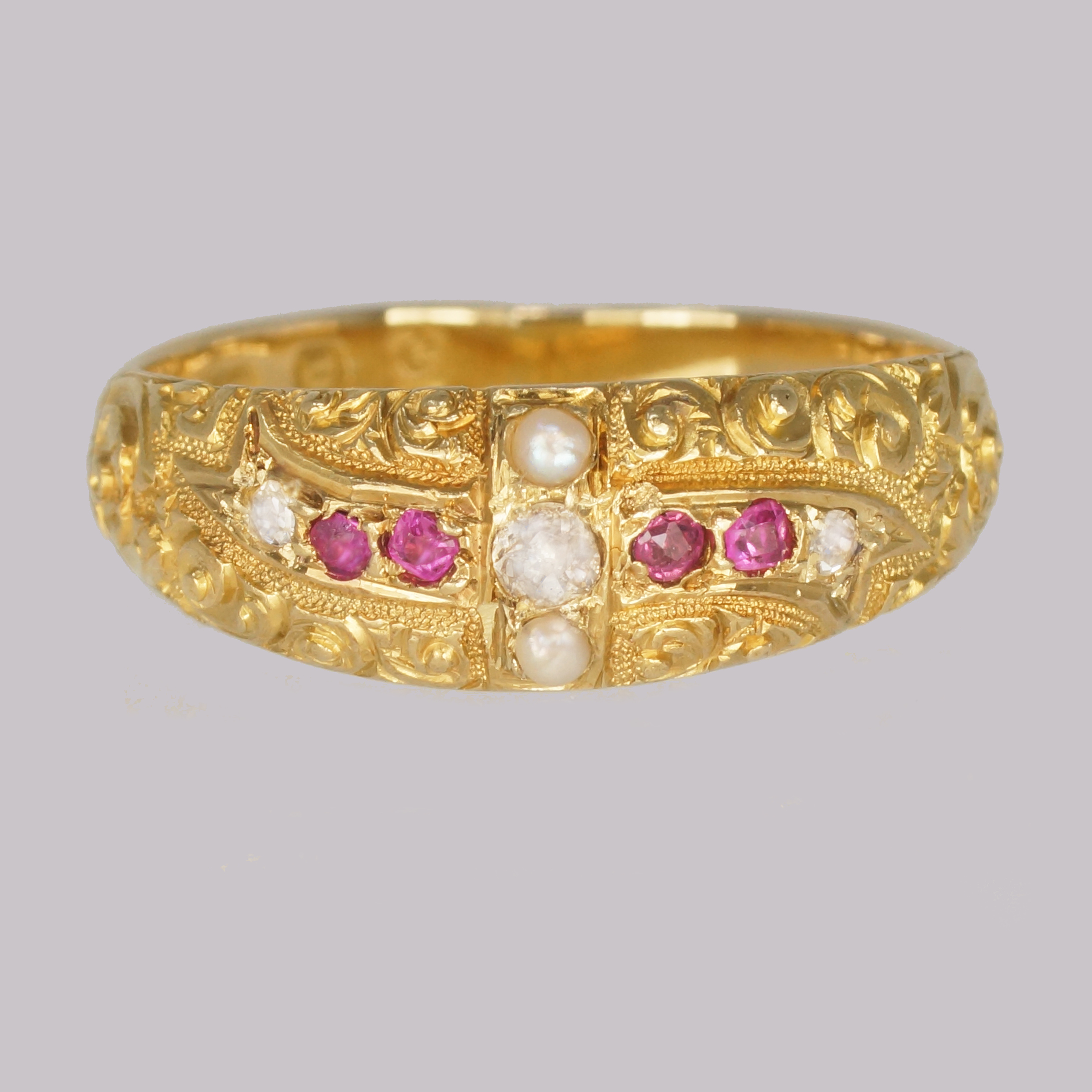 vintage ring gold ruby and pearl
