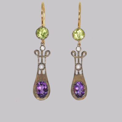 Vintage Suffragette Dangle Earrings Amethyst