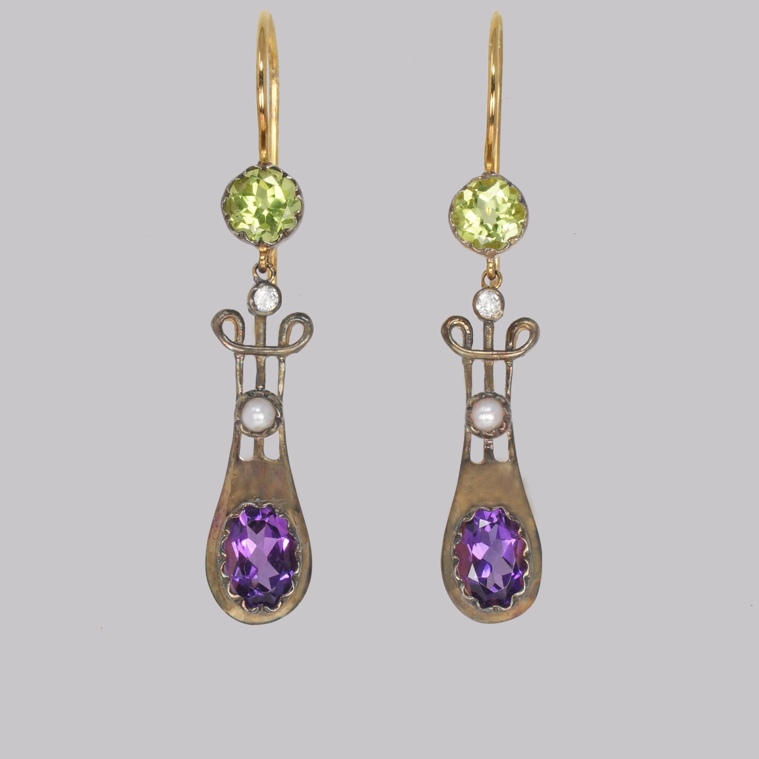 Vintage Suffragette Dangle Earrings Amethyst