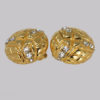Chanel Rhinestone Gold Tone Quilted Earrings