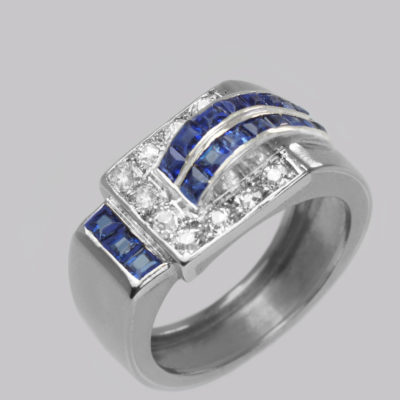 Diamond & Sapphire Art Deco Large Retro Ring