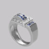 Diamond & Sapphire Art Deco Large Retro Ring