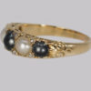 Antique White & Black Pearl Ring