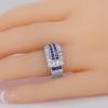 Diamond & Sapphire Art Deco Large Retro Ring on finger