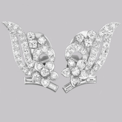 Art Deco Platinum Diamond Earrings