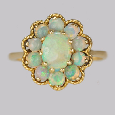 Fabulous Vintage Opal Cluster Ring 14ct