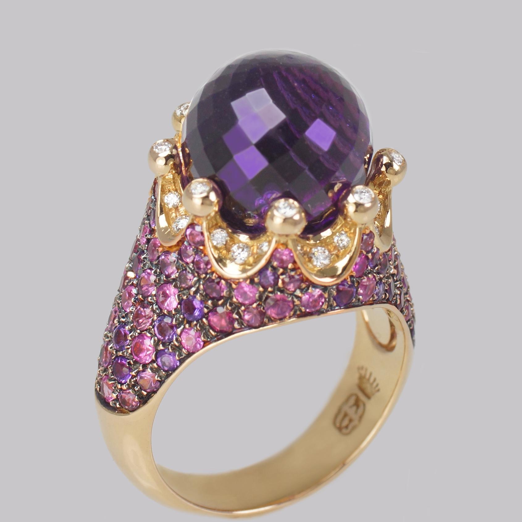 Castaldi Gioielli Amethyst Corona Ring