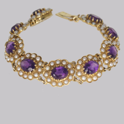 Victorian Amethyst & Seed Pearl Bracelet