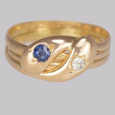Victorian Snake Ring. Diamond & Sapphire