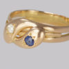 Diamond and sapphire snake ring