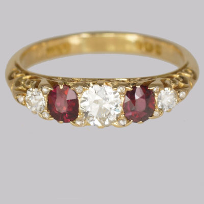 Antique Victorian,  Diamond and Ruby Ring