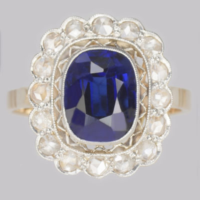 Antique Sapphire Cluster Ring Art Deco
