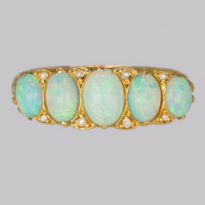 Opal and Diamond Ring, Antique Victorian