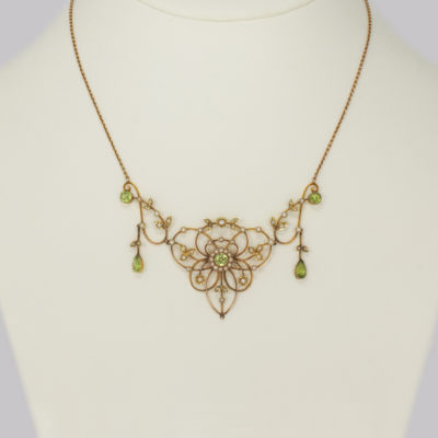 Antique Peridot & Pearl Necklace