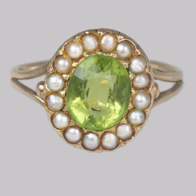 Victorian Pearl & Peridot Cluster Ring