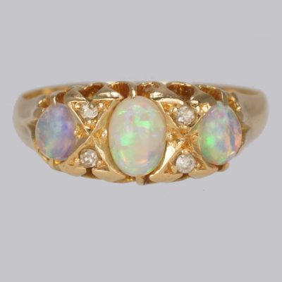 Antique Opal & Diamond Trilogy Ring