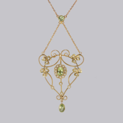 Edwardian Peridot & Pearl Necklace