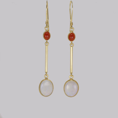 Vintage 18ct Gold Opal Dangle Earrings