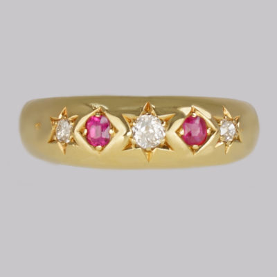 Victorian Diamond & Ruby Gypsy Ring