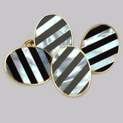 Asprey Cufflinks 18k Mother of Pearl & Onyx