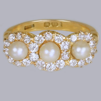 Antique Pearl & Diamond Triple Cluster Ring