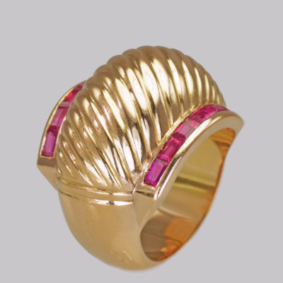 18ct Gold Retro Ruby 1940's Vintage Ring
