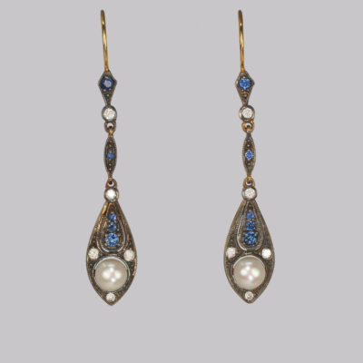 Vintage Pearl Diamond & Sapphire Drop Earrings