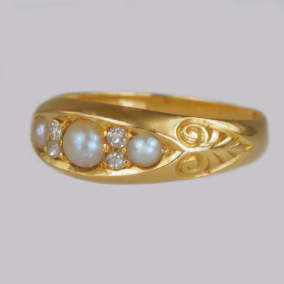 Victorian Pearl & Diamond 18ct Gold Boat Ring