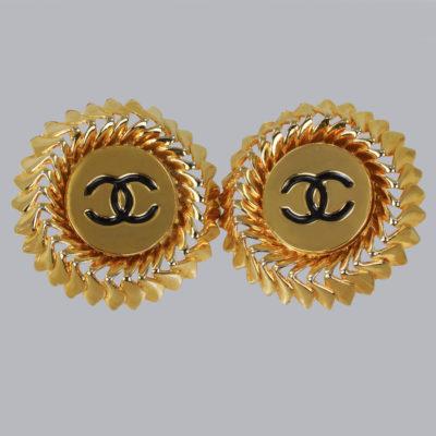 Chanel CC Earrings Huge Vintage Earrings