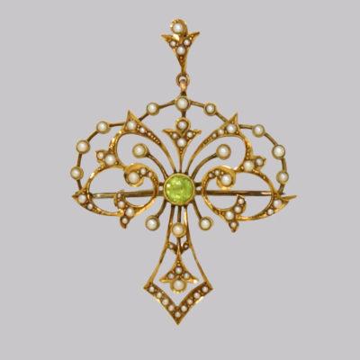 Art Nouveau Peridot & Pearl Pendant Brooch