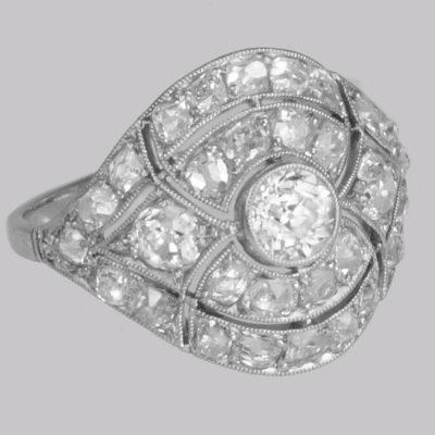 Art Deco Diamond Platinum Bombé Ring