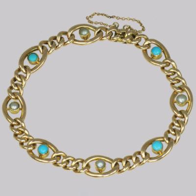 Antique 15ct Gold Turquoise & Pearl Bracelet