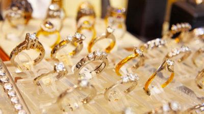 vintage rings on display