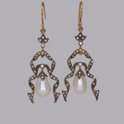 Vintage Pearl & Diamond Earrings