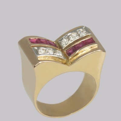 French Retro Diamond & Ruby Ring