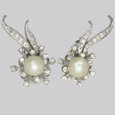 Vintage Diamond & Pearl Earrings