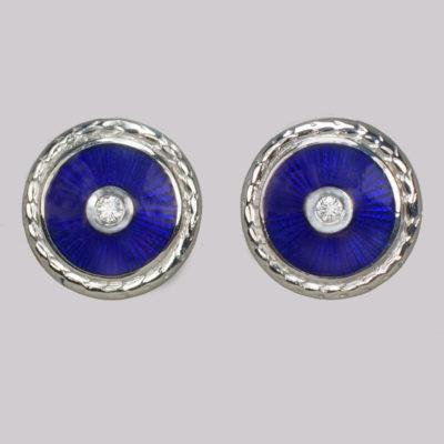 Fabergé Diamond & Enamel Earrings